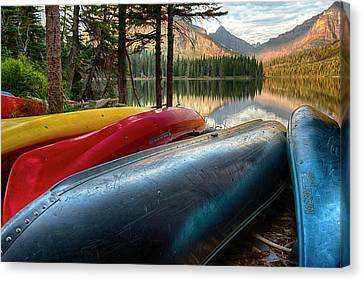 Canoe Canvas Print - Usa, Montana, Glacier National Park by Rona Schwarz