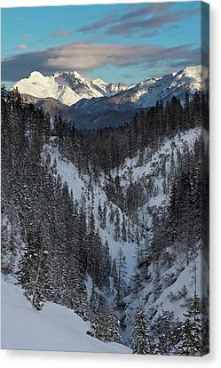 Snow-covered Landscape Canvas Print - Valley Gaistal With Snow During Deep by Martin Zwick