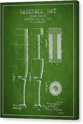 Vintage Baseball Bat Patent From 1919 Canvas Print by Aged Pixel