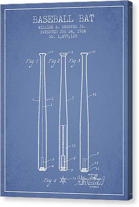 Baseball Canvas Print - Vintage Baseball Bat Patent From 1924 by Aged Pixel