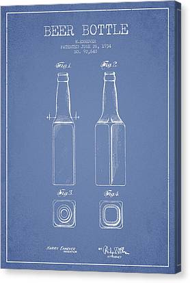 Vintage Beer Bottle Patent Drawing From 1934 - Light Blue Canvas Print by Aged Pixel