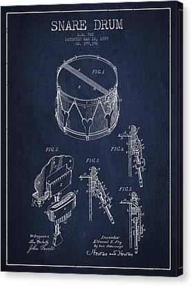 Vintage Snare Drum Patent Drawing From 1889 - Navy Blue Canvas Print by Aged Pixel
