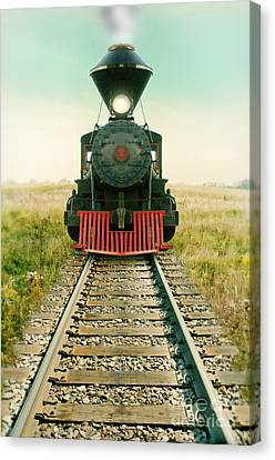 Vintage Train Engine Canvas Print by Jill Battaglia