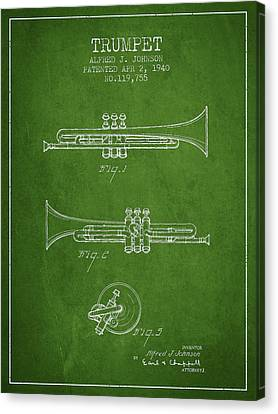 Vintage Trumpet Patent From 1940 - Green Canvas Print by Aged Pixel