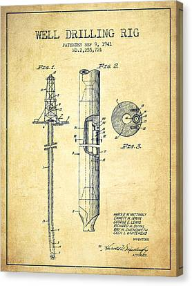 Vintage Well Drilling Rig Patent From 1941 Canvas Print by Aged Pixel