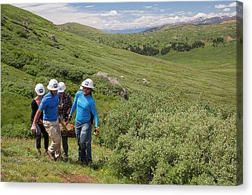 Volunteers Maintaining Hiking Trail Canvas Print by Jim West
