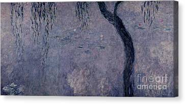 Waterlilies Two Weeping Willows Canvas Print by Claude Monet