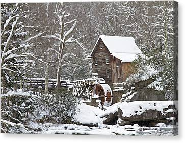 Watermill In A Forest In Winter, Glade Canvas Print by Panoramic Images