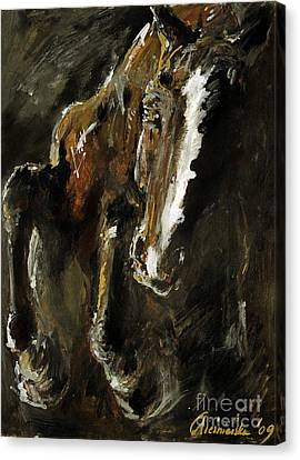Bay Horse Canvas Print - Wild Heart by Angel  Tarantella