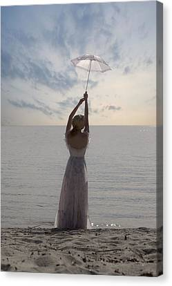 Gown Canvas Print - Woman At The Beach by Joana Kruse