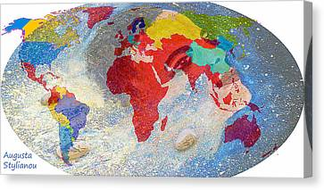 World Map And Barack Obama Stars Canvas Print by Augusta Stylianou