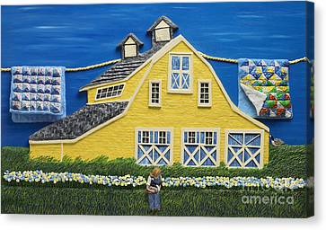Canvas Print featuring the sculpture Yellow Barn by Anne Klar