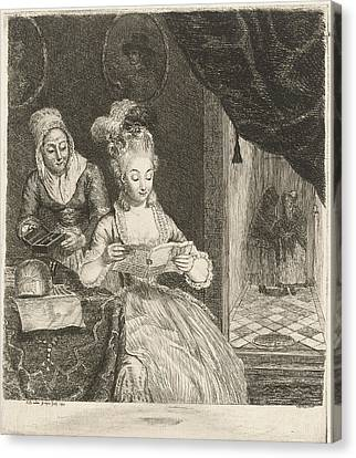 Young Woman Reading A Letter, Louis Bernard Coclers Canvas Print by Louis Bernard Coclers