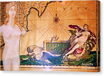 Ancient Cyprus Map And Aphrodite Canvas Print by Augusta Stylianou