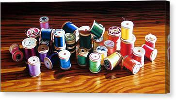 30 Wooden Spools Canvas Print by Dianna Ponting