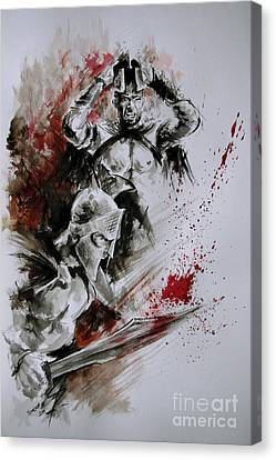 300 Spartan - Death And Glory. Canvas Print by Mariusz Szmerdt