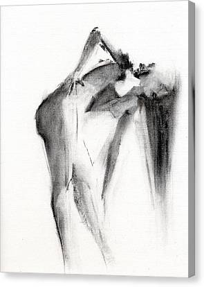 Nude Woman Charcoal Drawing Canvas Print - Rcnpaintings.com by Chris N Rohrbach