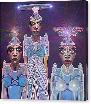 309 - Beautiful  Models  From Outer Space   Running For Miss Universe Canvas Print by Irmgard Schoendorf Welch