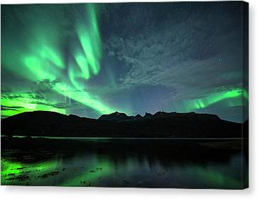 Reflecting Water Canvas Print - Aurora Borealis by Tommy Eliassen