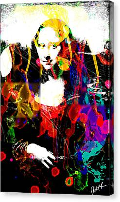 31x48 Mona Lisa Screwed - Huge Signed Art Abstract Paintings Modern Www.splashyartist.com Canvas Print by Robert R Splashy Art Abstract Paintings
