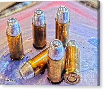 Bullets Canvas Print - 32 Caliber Hollow Points 1b Hdr Gold by Lesa Fine