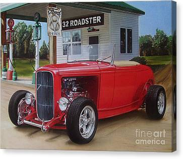 32 Ford At Filling Station Canvas Print
