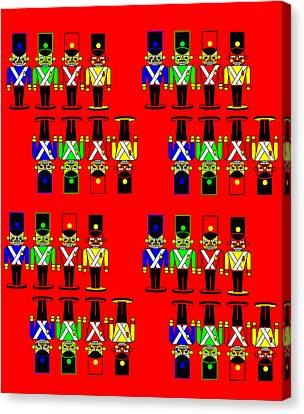 32 Nutcracker Soldiers On Red Canvas Print by Asbjorn Lonvig