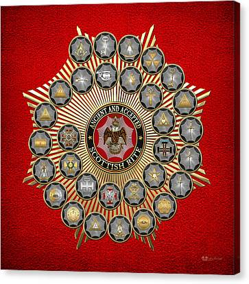Canvas Print featuring the digital art 33 Scottish Rite Degrees On Red Leather by Serge Averbukh