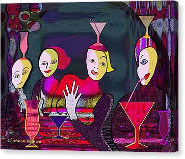 349 - Crazy Cocktail Bar   Canvas Print by Irmgard Schoendorf Welch
