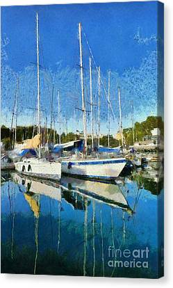 Reflections In Mikrolimano Port Canvas Print by George Atsametakis