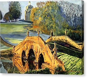 355 Ancient English Bridge Canvas Print by David Lloyd Glover