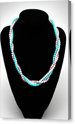 3584 Three Strand Twisted Shell Necklace Canvas Print by Teresa Mucha