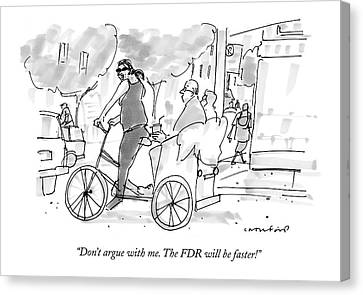 Don't Argue With Me. The Fdr Will Be Faster! Canvas Print by Michael Crawford