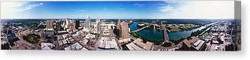 360 Degree View Of A City, Austin Canvas Print by Panoramic Images