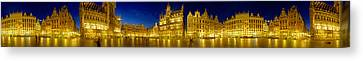 360 Degree View Of The Grand Place Lit Canvas Print by Panoramic Images
