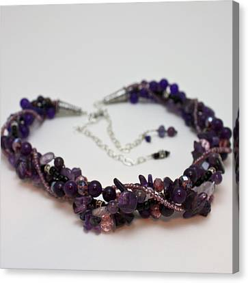 3607 Multi Strand Adjustable Amethyst Necklace Canvas Print