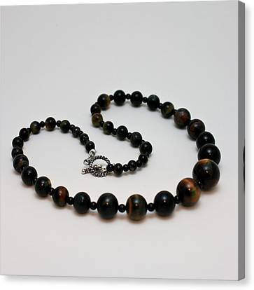 3608 Blue Tiger Eye Graduated Necklace Canvas Print by Teresa Mucha