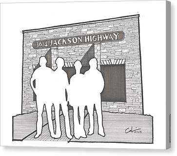 Canvas Print featuring the drawing 3614 Jackson Highway by Calvin Durham