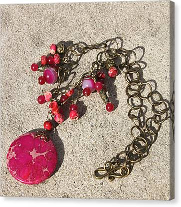 Focal Bead Canvas Print - 3641 Pink Imperial Jasper Pendant Necklace by Teresa Mucha