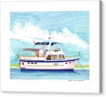 37 Foot Marine Trader 37 Trawler Yacht At Anchor Canvas Print by Jack Pumphrey