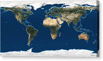 3d Earth At A Glance - Satellite Image Of The World Canvas Print