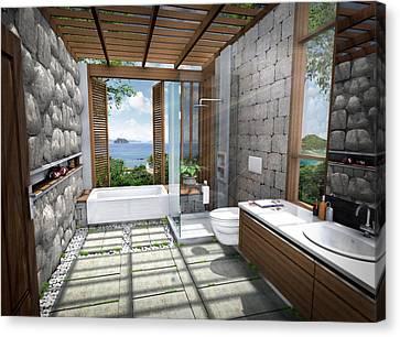 Shower Head Canvas Print - 3d Tropical Bathroom by Thanes