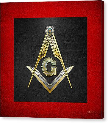 Canvas Print featuring the digital art 3rd Degree Mason - Master Mason Masonic Jewel  by Serge Averbukh