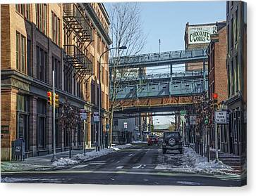 Ben Franklin Canvas Print - 3rd Street View Of The Ben Franklin Bridge by Bill Cannon
