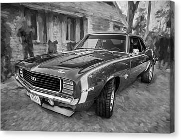 1969 Chevy Camaro Rs Painted Bw   Canvas Print by Rich Franco