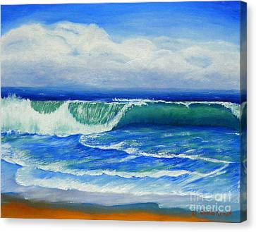 Canvas Print featuring the painting A Wave To Catch by Shelia Kempf