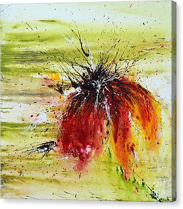 Canvas Print featuring the painting Abstract Flower by Ismeta Gruenwald