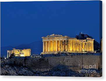 Acropolis Of Athens During Dusk Time Canvas Print by George Atsametakis