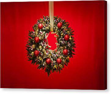 Advent Wreath Over Red Background Canvas Print