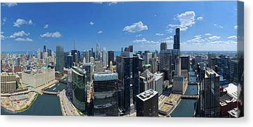 Aerial View Of A City, Lake Michigan Canvas Print by Panoramic Images